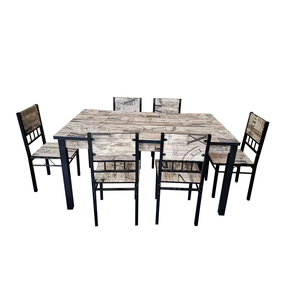 Manufacturers selling dining room furniture MDF plate metal frame dining table sets modern dining table and chairs.