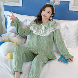 Winter Thick Women'S Pajamas Flannel Long-Sleeved Lace Homewear Pajamas Set