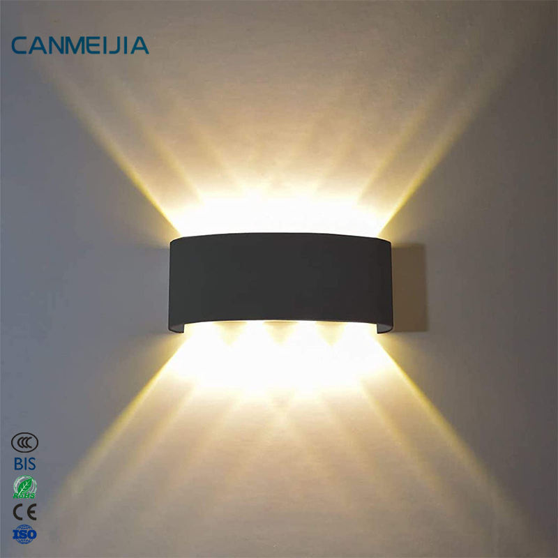 Modern Black Decoration Up Down Outdoor Indoor Luxury Home Room Bedroom Hotel Bathroom Lamp Reading Light Sconce LED Wall Lamp
