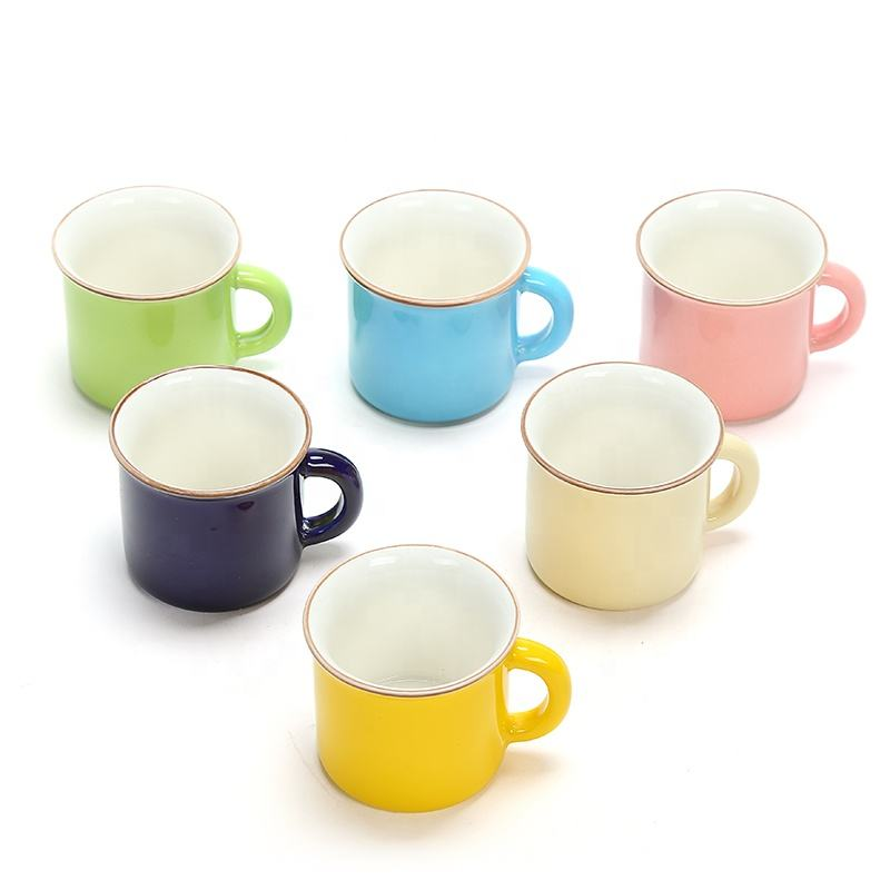 55ml Mini Mug Small Water Cup 6PCS Ceramic Coffee Mug Colorful Ceram Cup Children Small Mug