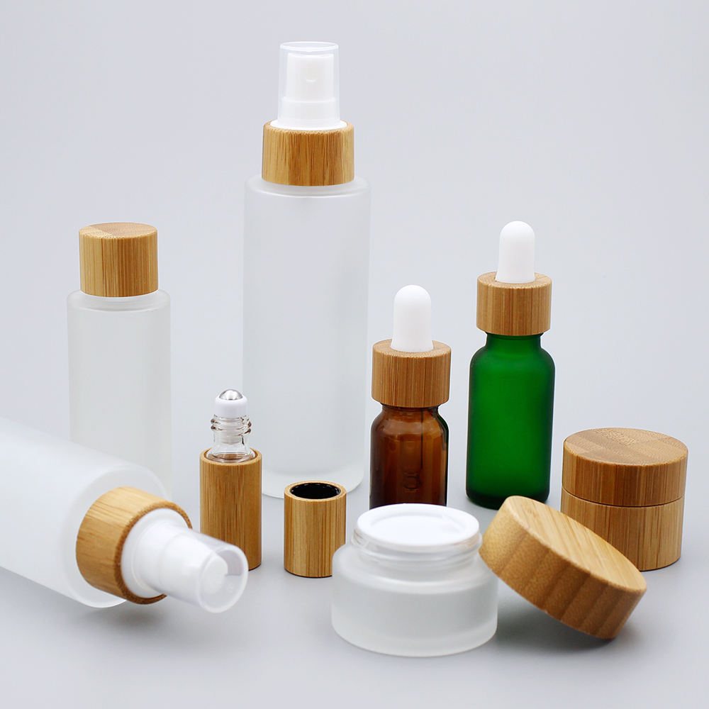 5g 15g 30g 50g Glass Cream Jar Essential Oil Bottle Bamboo Cosmetic Packaging