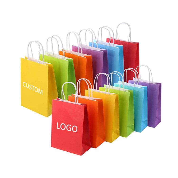 Wholesale Custom Logo Printing Recycled Reusable Food Take Away Grocery Party Gift Kraft Paper Bag With Handles