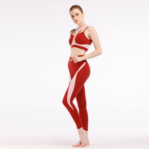 Contrast Color Stitching Outfits Fitness Workout Clothes For Women Yoga Gym Apparel Wear