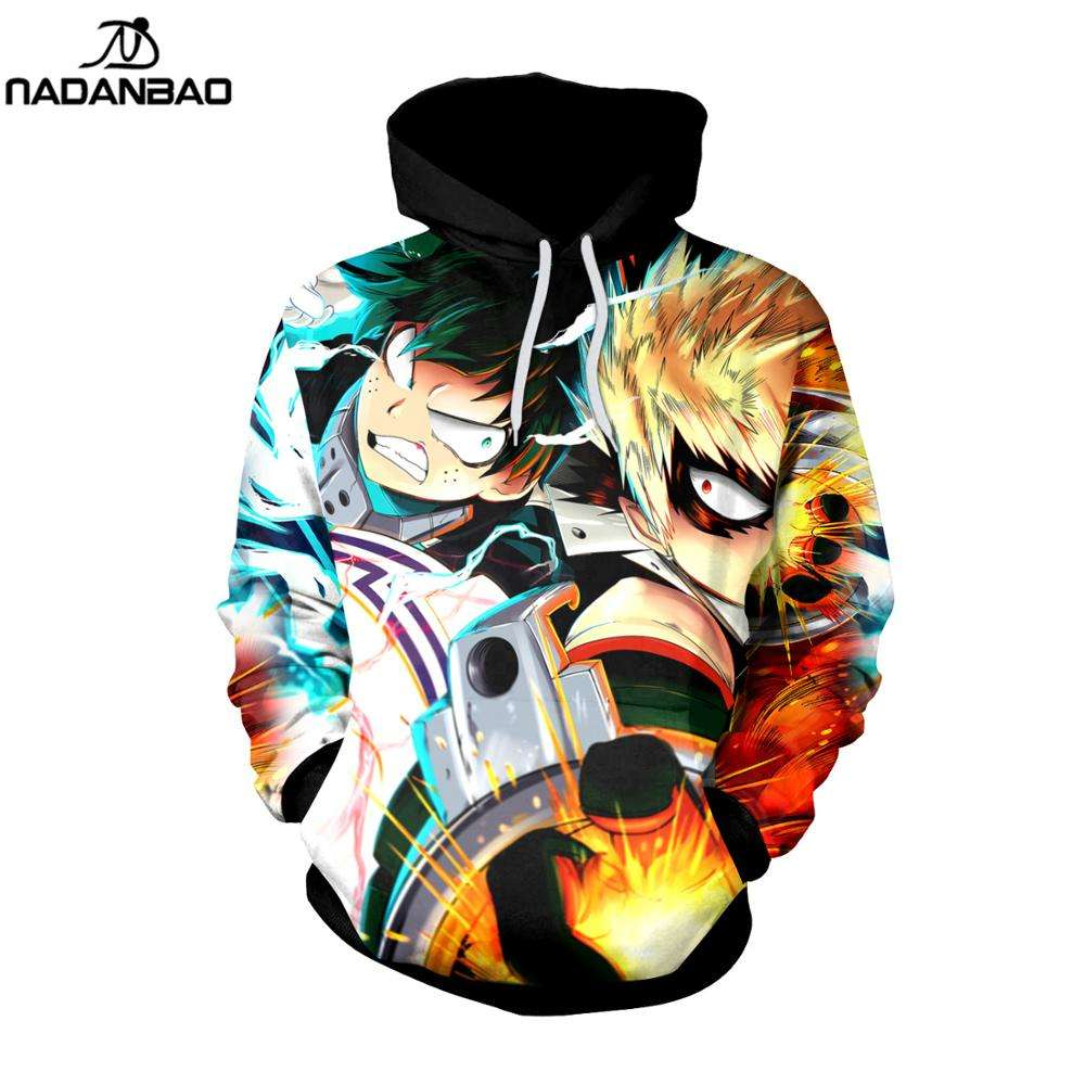 Creality anbao — sweat à capuche pour hommes, nouveau design, anime, My Hero Academia, impression sublimation, ras du cou, 2021