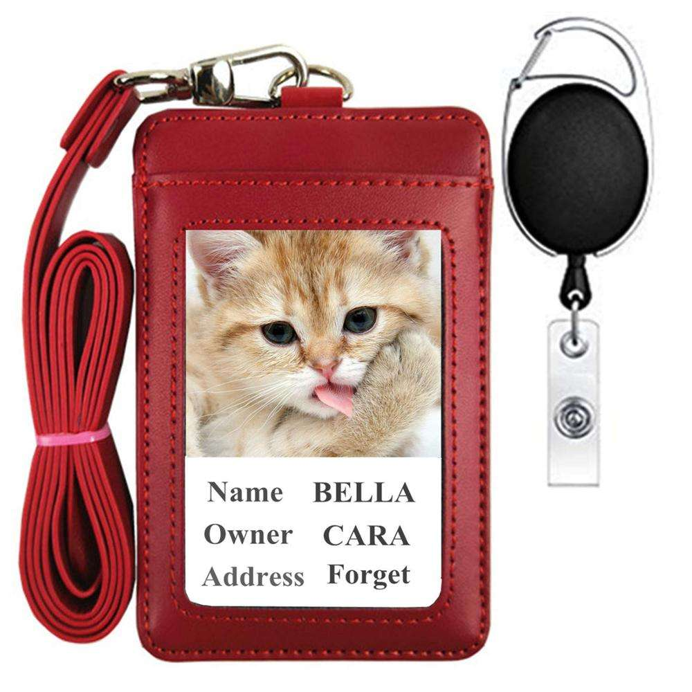 Custom Business Leather Retractable ID Card Holder Bulk Badge Holder Chain Necklace
