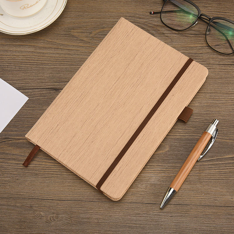 OEM Private Label Classic Office Wood Cover Notebook Paper Diary Agenda With Elastic Band