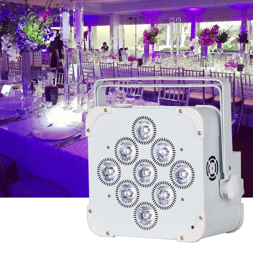 9pcs 18w rgbwauv flat led par light 6in1 battery powered wireless dmx uplights professional for wedding