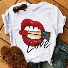 New Summer Female Tops Tee Lip Kiss Women T-shirts