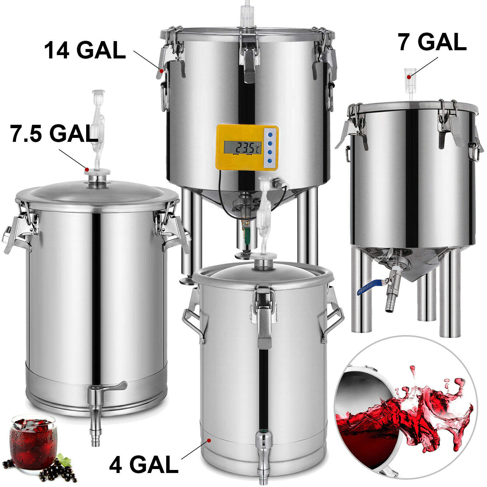 Brew Bucket Fermentor 304 Stainless Steel Conical Beer Wine Fermenter 4,7,7.5,14 Gallon