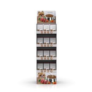 упермаркета ПЭТ закуски бумажный дисплей пола полки из рефленого картона для корма для собак продукт дисплей полки для автолавка