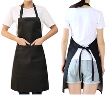 Black Plain Customized Logo Printing  Organic cotton Men Women Protective Kitchen Cleaning Cooking Waist Apron with Pocket