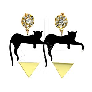 Brand Designer Logo Chic Rattan Acrylic Multi-Color Cat On The Triangle Animal Earrings For Teens