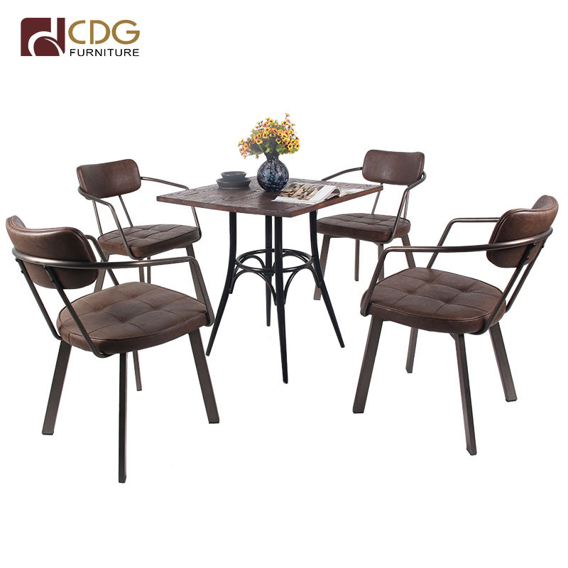 Restaurant Chair PU Leather Table Wood Furniture Coffee Shop Tables And Chairs