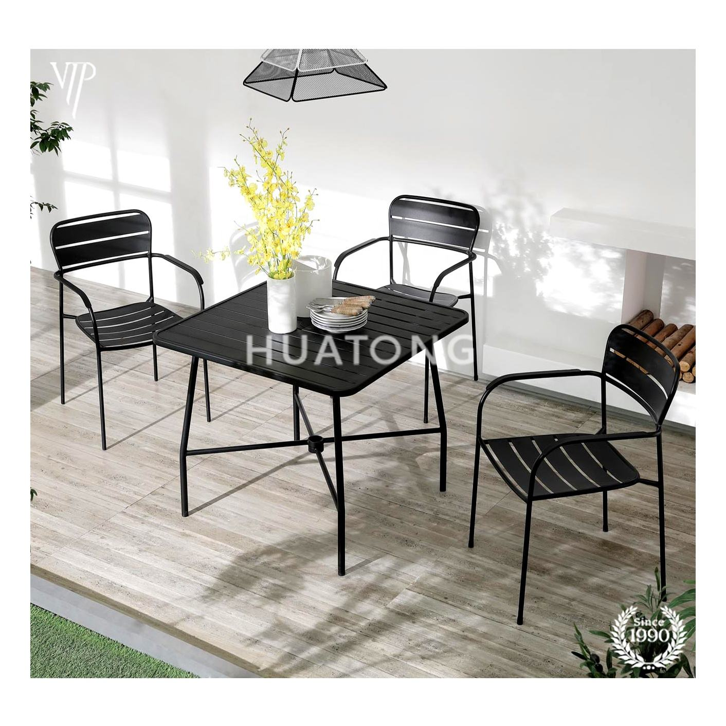 4 Pieces Patio Furniture Sets sectional Black steel Outdoor Funiture with umbrella