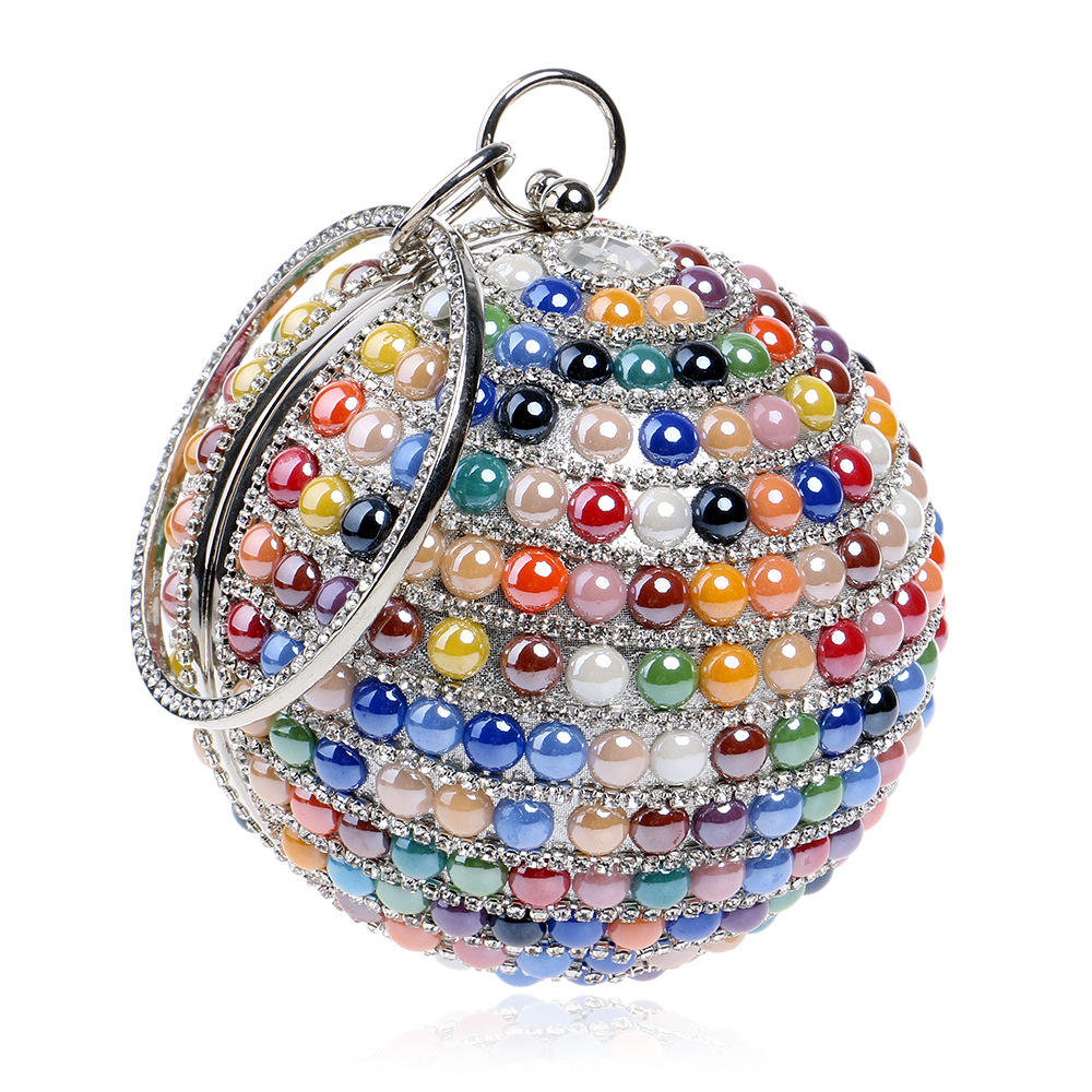 Lady Fashion Handmade Colorful Stone Wedding Bag Rhinestone Party Clutch Women's Clutch Banquet Handbags Evening Bag