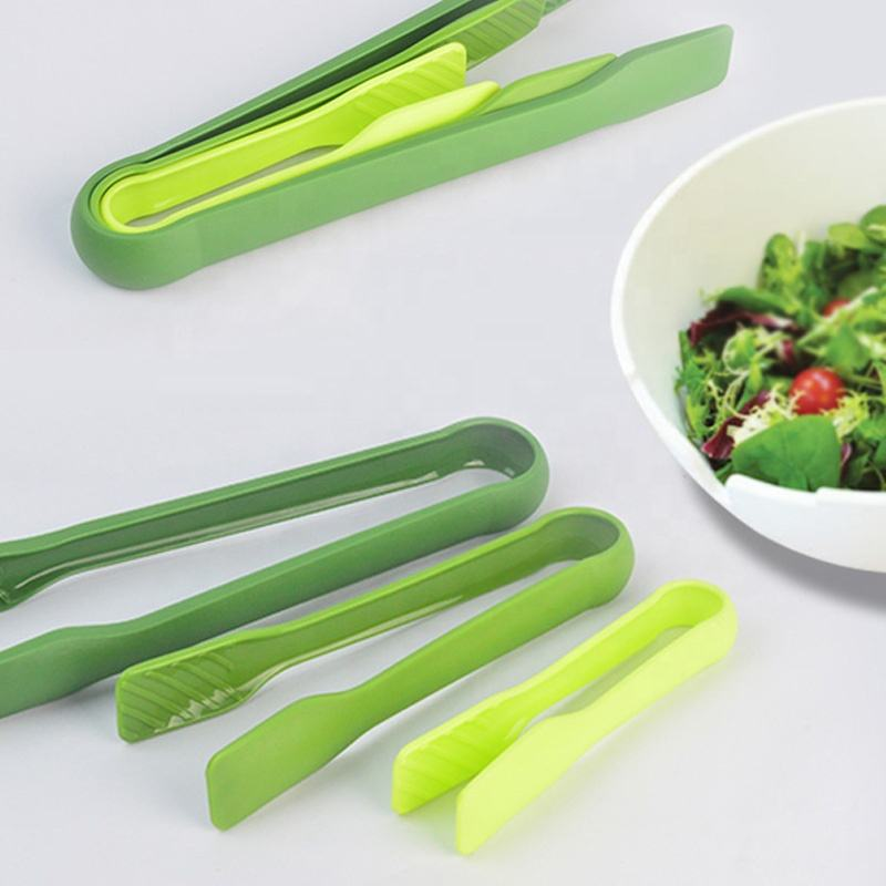 Kitchen Utensil Leaves Shaped Nesting Design Plastic BBQ Salad Tools 3-Piece Food Tong Set