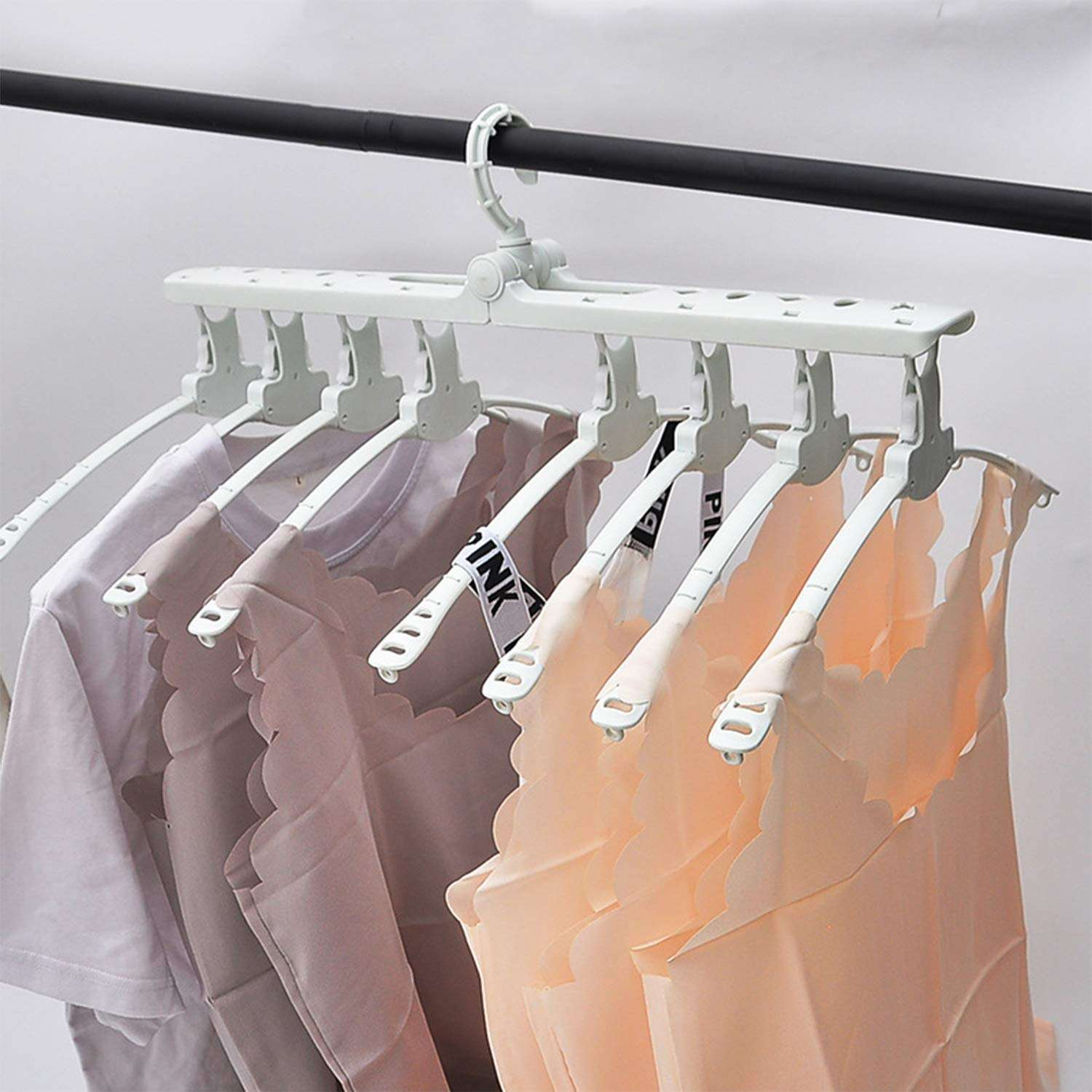 Non-slip Muti Function Folding Plastic Magic Adjustable Clothes Hanger Rack Swivel Head Wardrobe Laundry Hanger