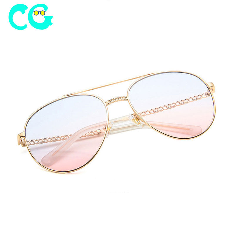 New Fashion pilot Sunglasses Pink brown Sunglasses for Women Brand Designer Shoes Oculos metal frame Mirrored Sunglasses