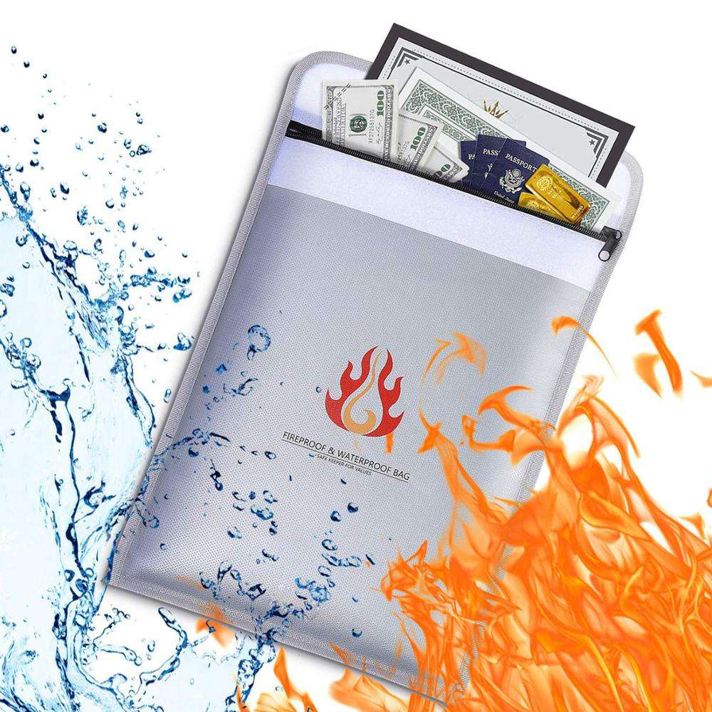 Fireproof Document Bag 15 x 11 Inch Silicone Coated Fire Water Resistant Money Bag with Heavy Duty Zipper and Closure
