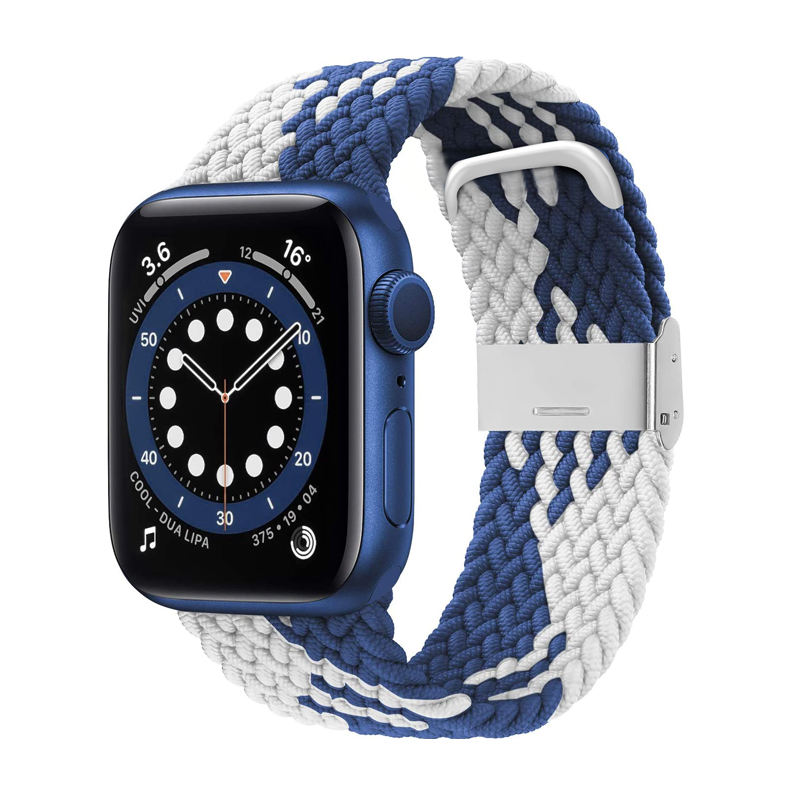 For Apple Watch Adjustable Braided Watch Band Nylon Solo Loop Strap with Stainless Steel Buckle Wristbands