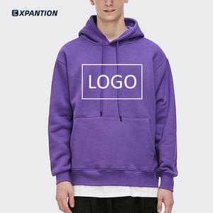 Factory Drop Ship New Design Long Sleeve Heavyweight Unisex Sweatshirt Custom Oversized Hip Hop Blank Purple Hoodie