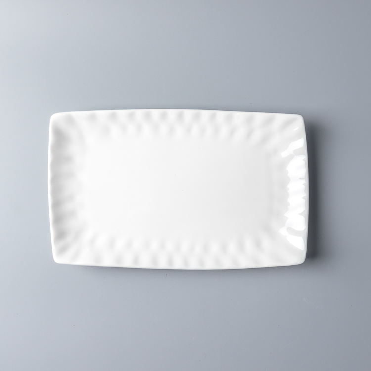 10-12 inch Rectangular white dish restaurant ceramic plates dishes ceramic plates modern dinner plates new design for hotel