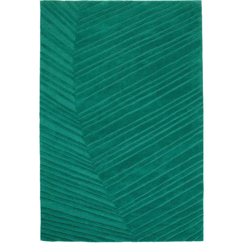 Hand tufted high/low cut pile wool area rugs green and cyan color rug