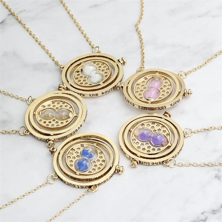 Hot sale unisex harry jewelry Harrypotter gold plated time turner hourglass pendant necklace for gift