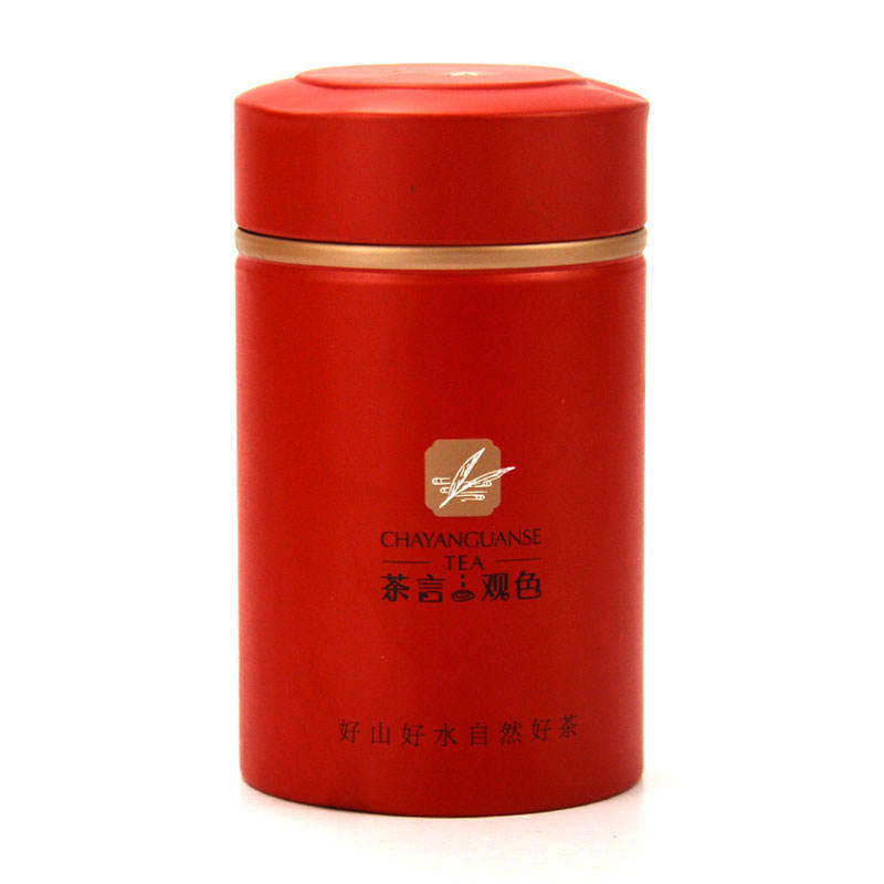 Custom round shape sealed lid tea tin can high quality red coffee tin box luxury gift tea packaging tin can
