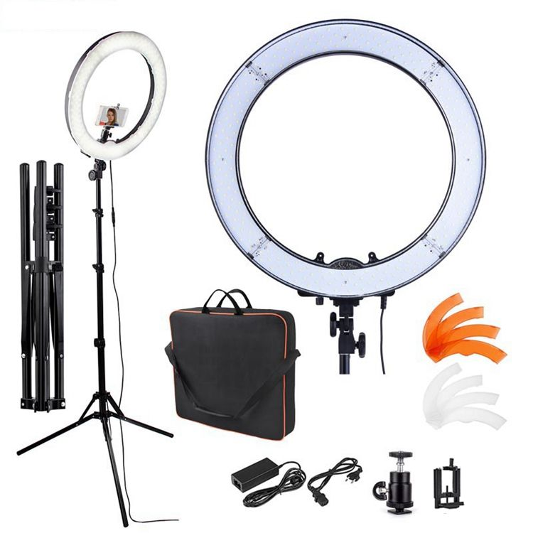Fosoto RL-18 55W 240 Led Dimbare 5500K 18 Inch Ring Licht Met <span class=keywords><strong>Statief</strong></span> Spiegel Voor <span class=keywords><strong>Camera</strong></span> Photo studio Telefoon <span class=keywords><strong>Video</strong></span>