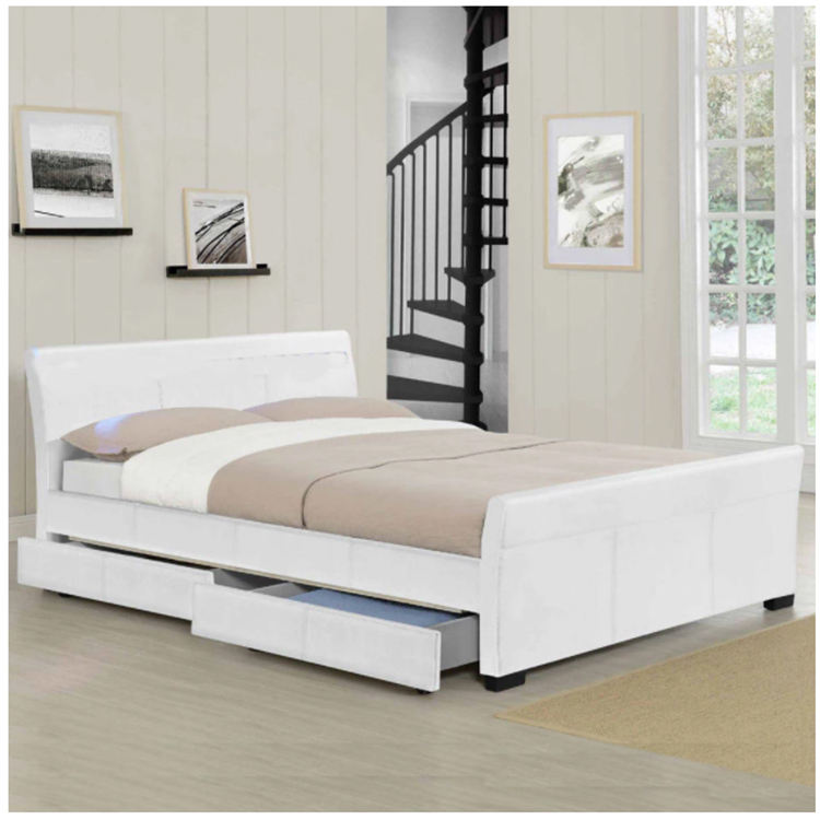 Latest leather plywood double storage bed with drawer designs