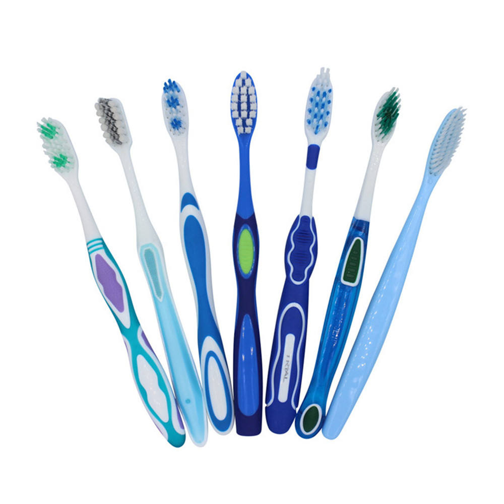 Custom logo oem oral care travel home different bristles material plastic adult toothbrush