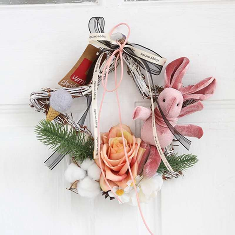 Fancy Handmade Star Shaped With Rose And Rabbit Home Hang Decoration Wreaths
