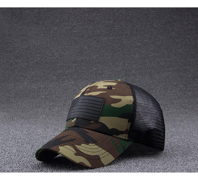 wholesale half mesh cap camouflage camo military army trucker 6 panel baseball mesh cap
