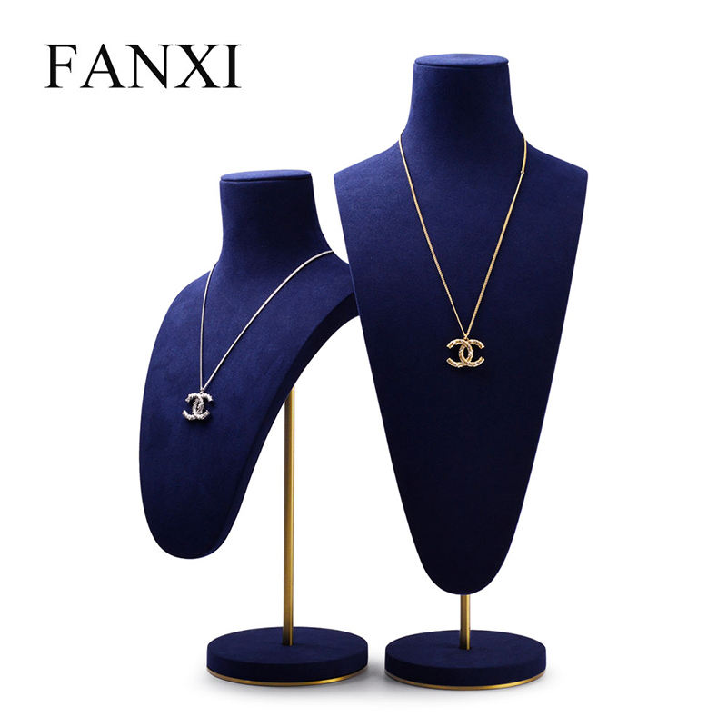 Fanxi China Groothandel Custom Luxe Sieraden Ketting <span class=keywords><strong>Buste</strong></span> Fijne Donkerblauw Microfiber Ketting Display Stand Metal Base