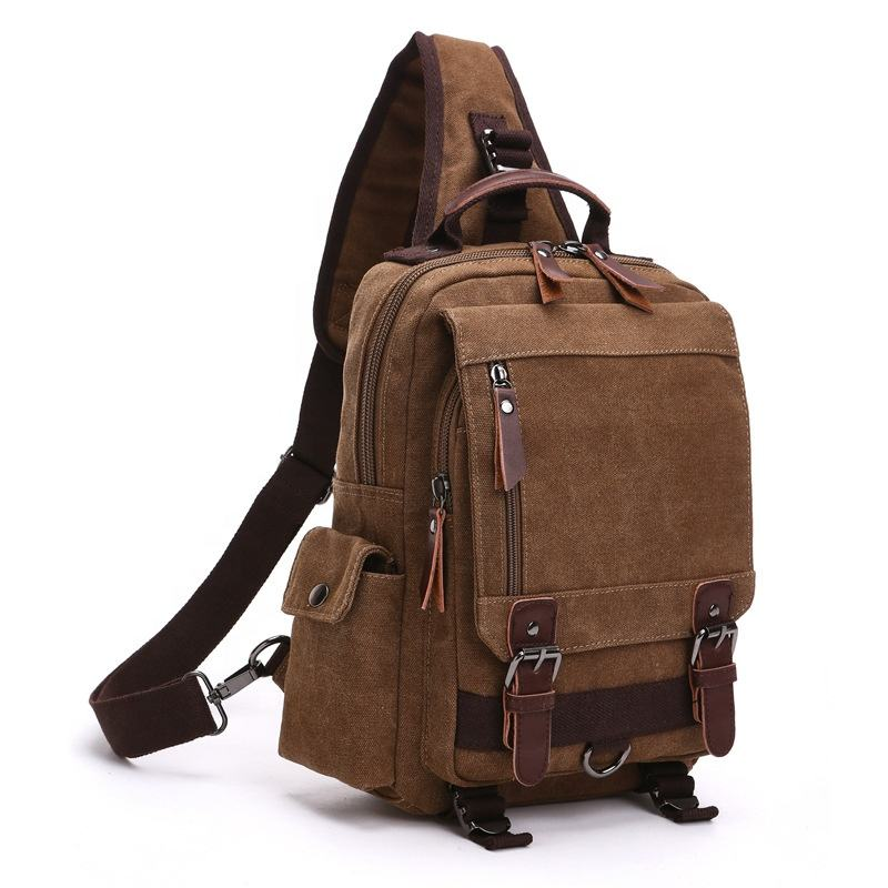 factory wholesale luxury stylish leather men cross body single shoulder strap laptop canvas messenger bag