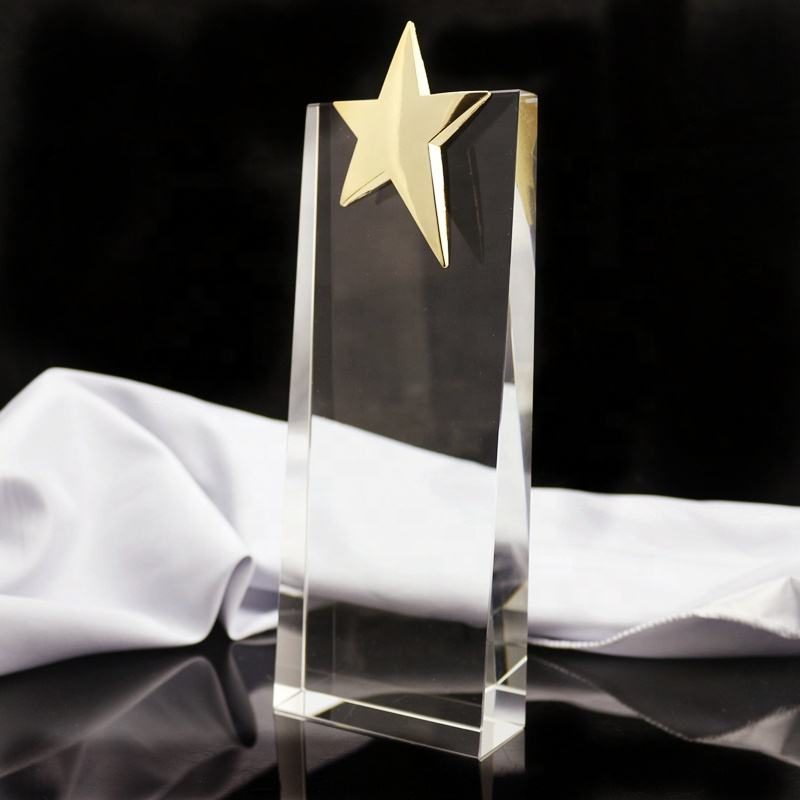 Star Shaped Award Trophy Crafts /Crystal Trophy for Engraving Available/Personalized crystal plaques and awards trophy for gift