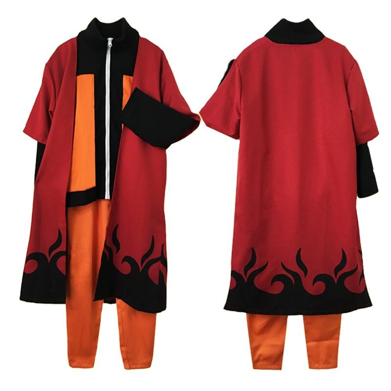 Anime Naruto Cosplay Costume Uzumaki Naruto Outfit Adults Men Suits Japanese Cartoon Costumes Naruto Cloak Top Pants