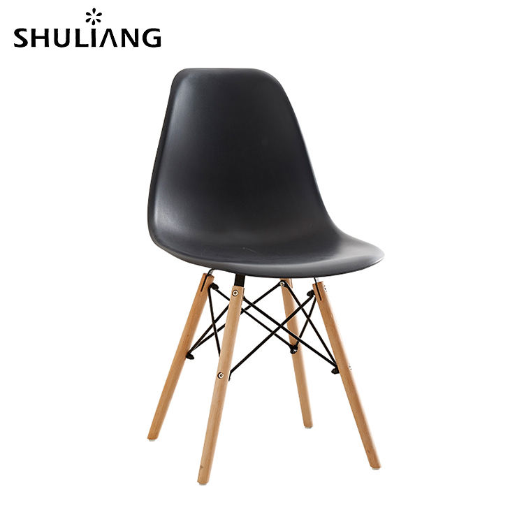 cheap plastic shell solid wood leg leisure modern restaurant kitchen dining chair colourful creative plastic chair