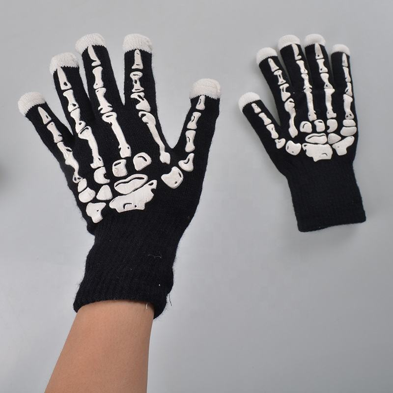 2019 new design flashing light up knitting finger halloween led lighting party glove