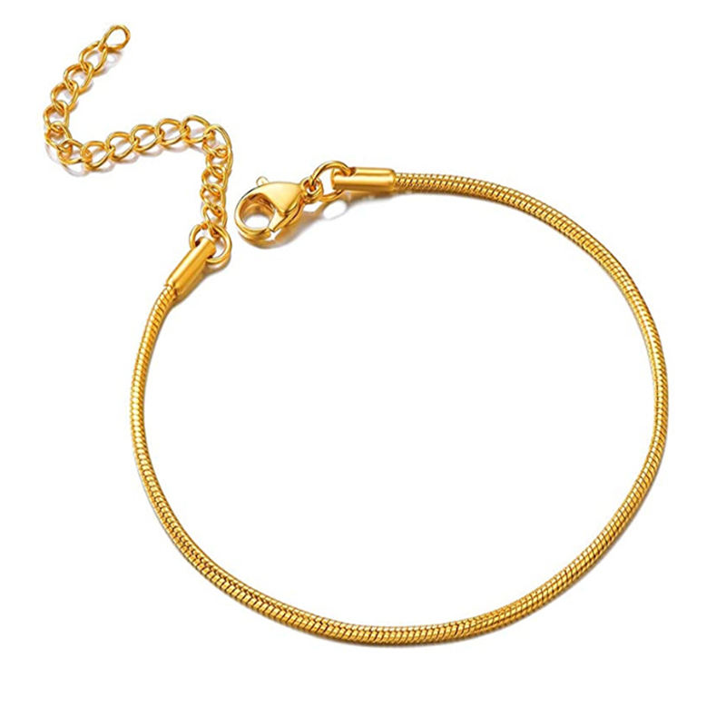 2020 Newest Gold Thin Chain Bracelet For Women Trendy Stainless Steel Multi Color 1.5mm Round Snake Chain Bracelet