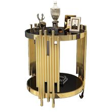 Luxury Modern design stanieless steel glass top round side table polished gold end table