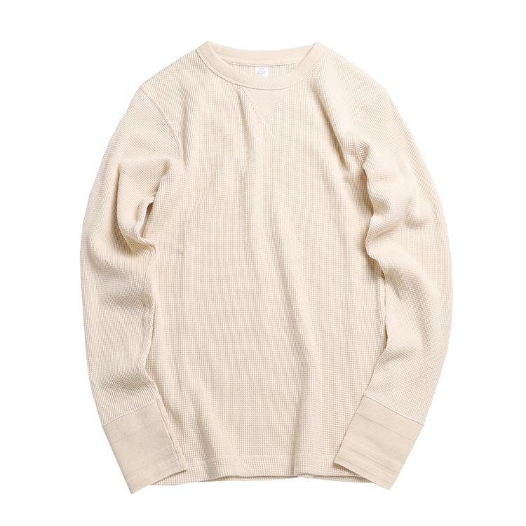 Men Heavy Cotton Waffle Knit Long Sleeve T Shirt