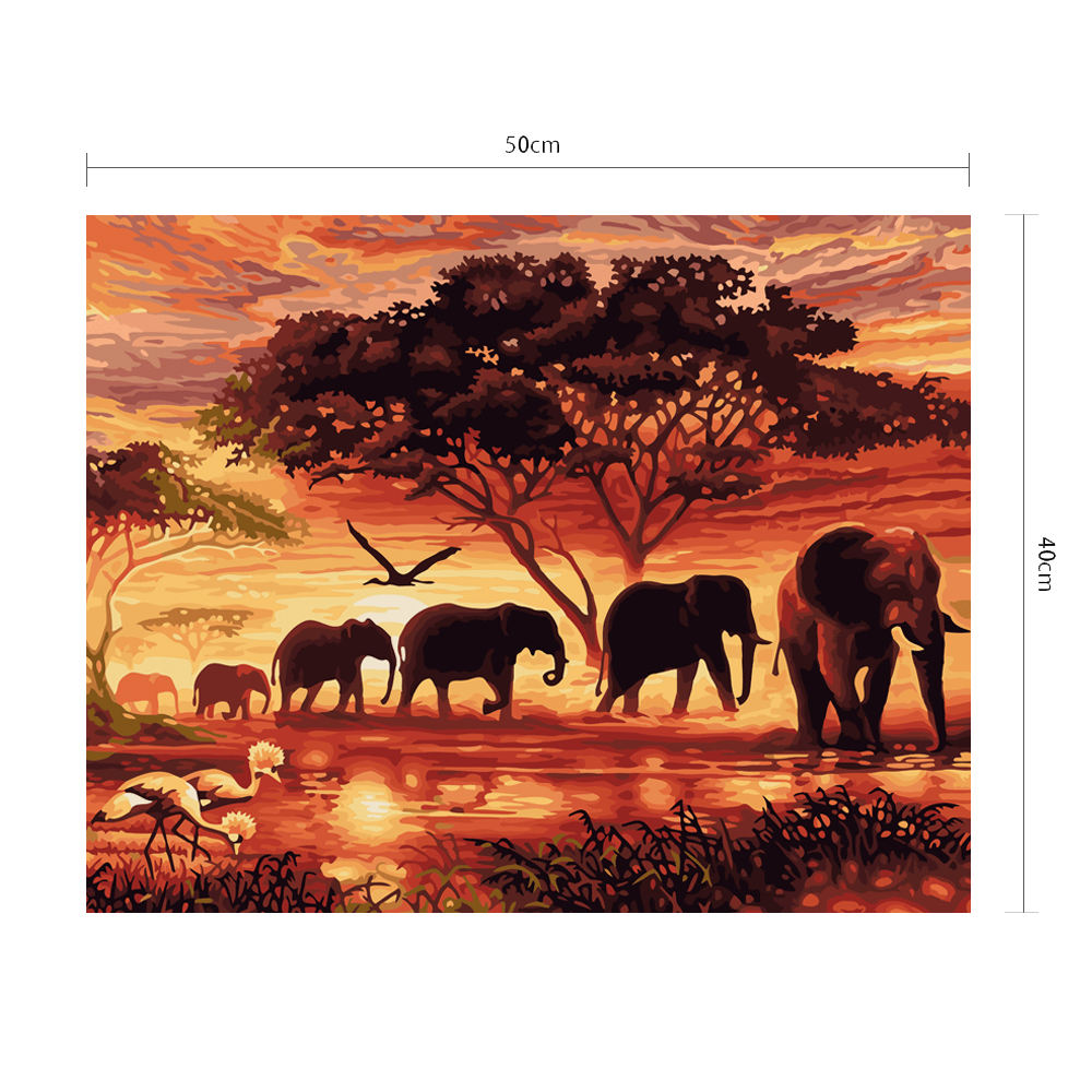 Elephant Silhouette Africa Nature Scenery Sunset Landscape Picture Prints Canvas Artwork Oil Painting by Numbers
