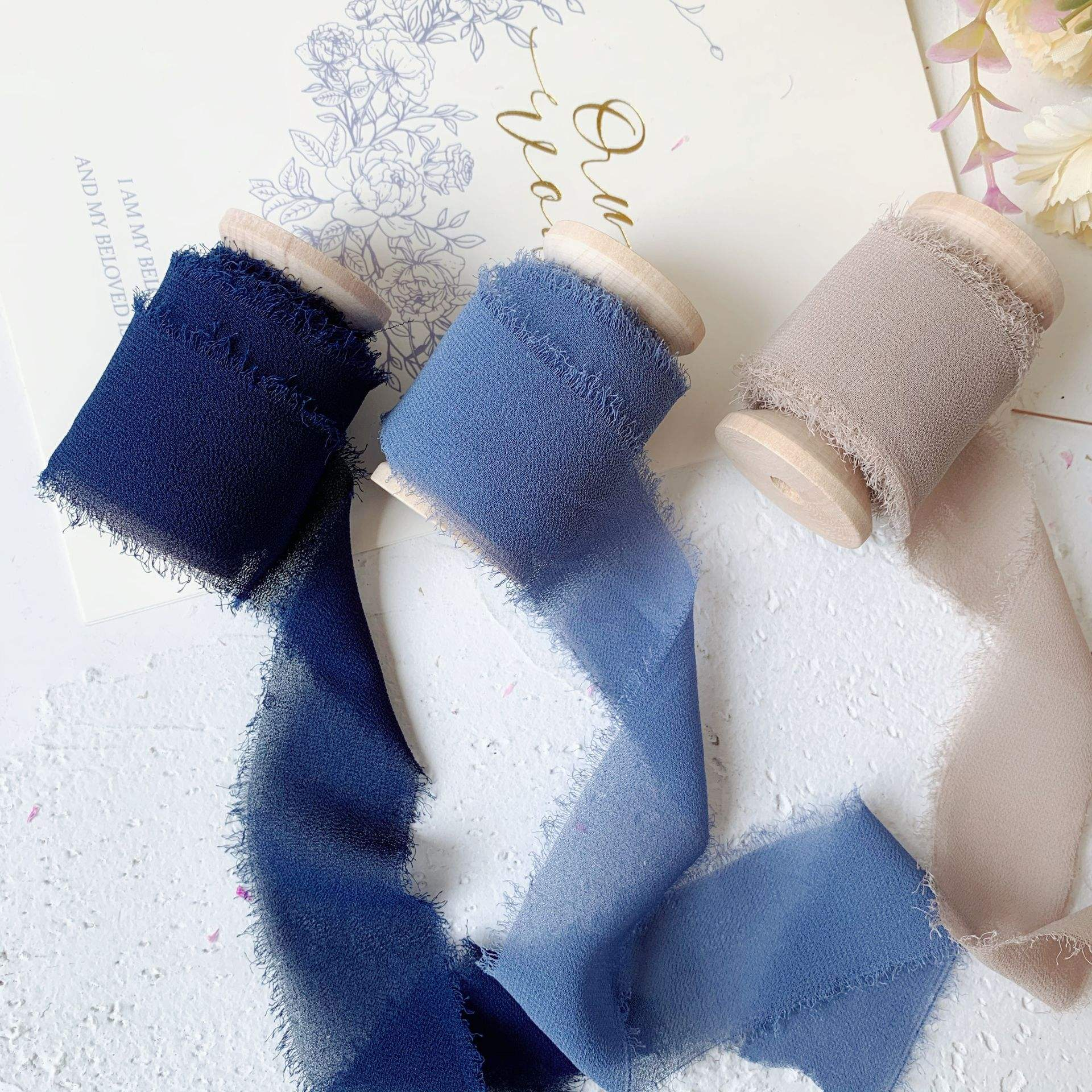 20mm-80mm polyester chiffon pure silk crepe habotai frayed edged ribbon hand made for wedding packgaed ribbon