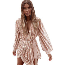 Estanla Womens Sexy Casual Sequin Surpliced Wrap Deep V Neck High Waist Solid Color Long Sleeve Party Mini Dress
