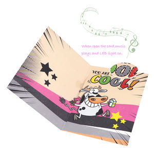 2020 Coated Paper Birthday Invitation LED Lights Music Greeting Card With Dairy Cow