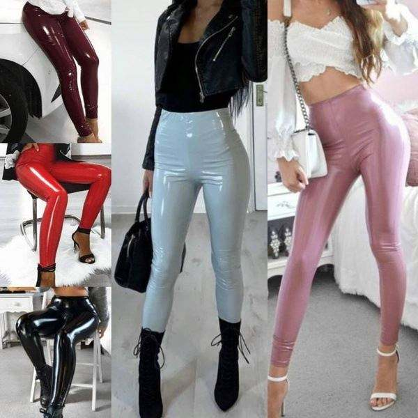 Wholesale womens petite pu leather pants trousers outfit high waisted leather pants for women