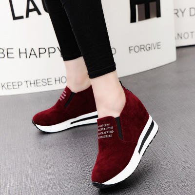 HLS0104 summer wholesale light wedges shoes casual high 8cm black pu casual comfortable shoes for women