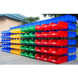 Stackable plastic bin for spare parts storage warehouse boxes